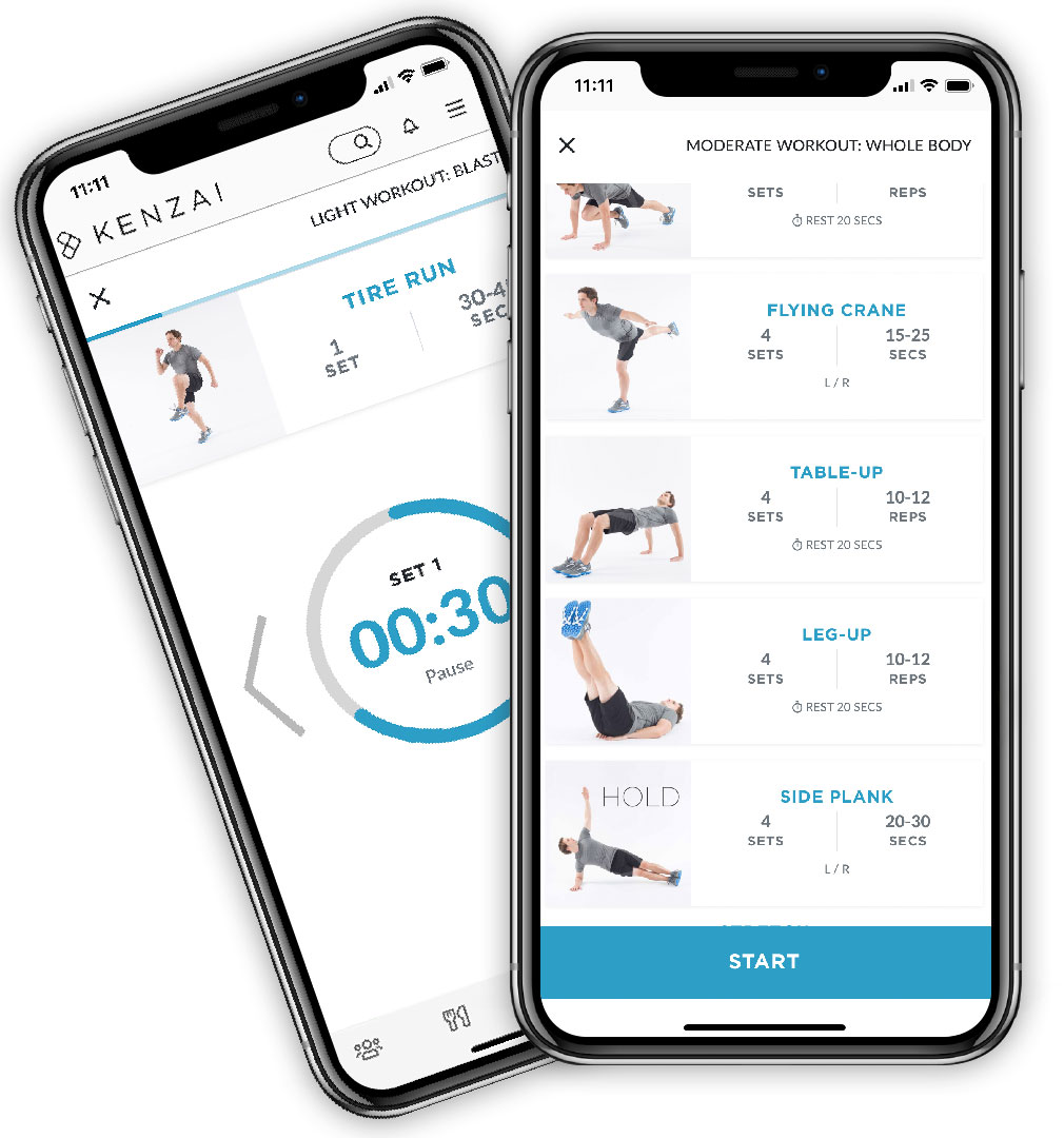 Kenzai app during a workout